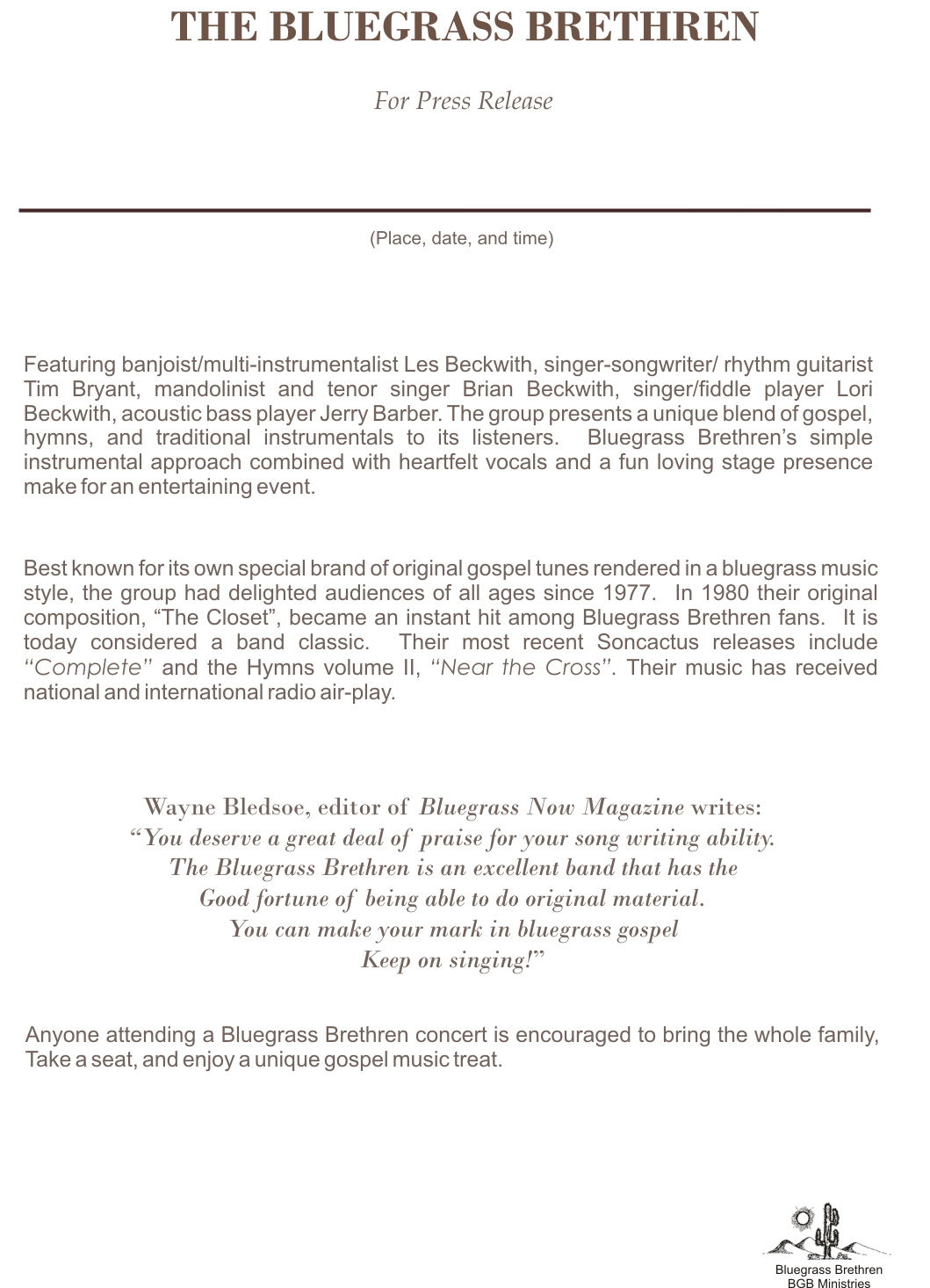 Bluegrass brethren gospel band for Concert press release template